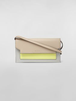 Marni Gussets Pochette in saffiano leather yellow tan and grey Woman