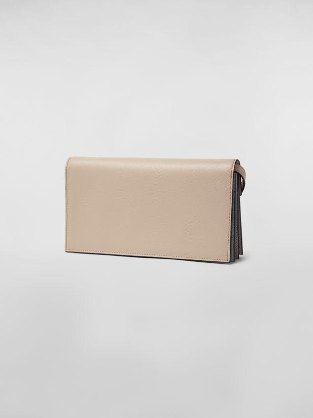 Marni Brieftasche mit Balgen aus Saffiano-Leder in Gelb, Hellbraun und Grau Damen