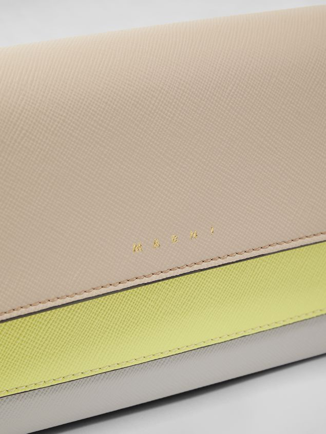 Marni - Gussets Pochette in saffiano leather yellow tan and grey - 4