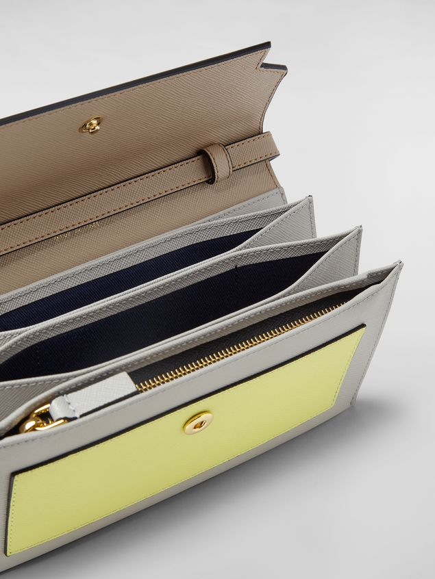 Marni - Gussets Pochette in saffiano leather yellow tan and grey - 2