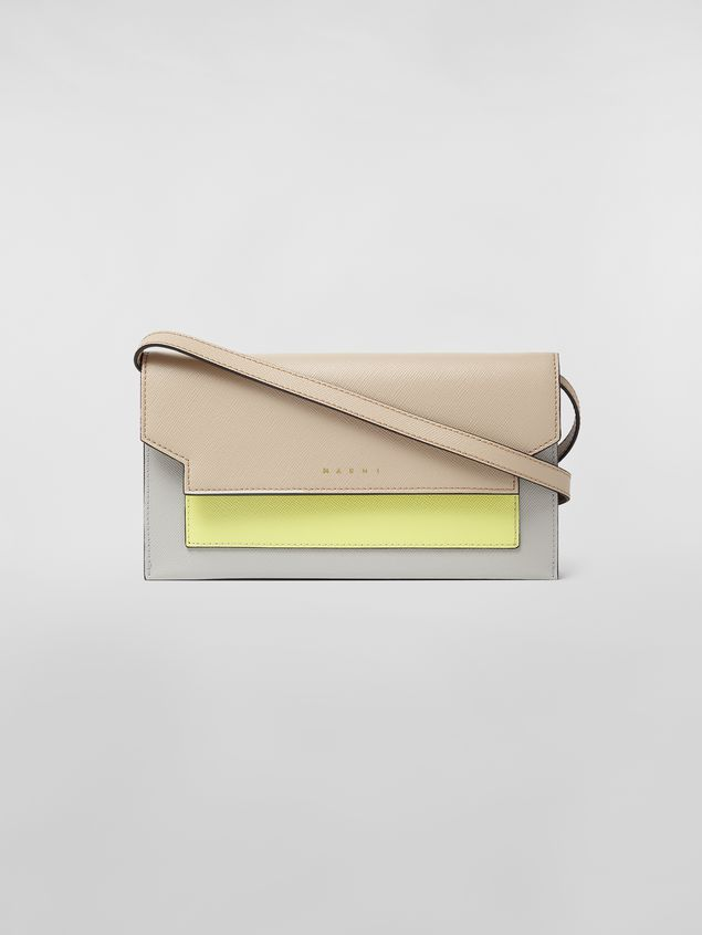 Marni - Gussets Pochette in saffiano leather yellow tan and grey - 1