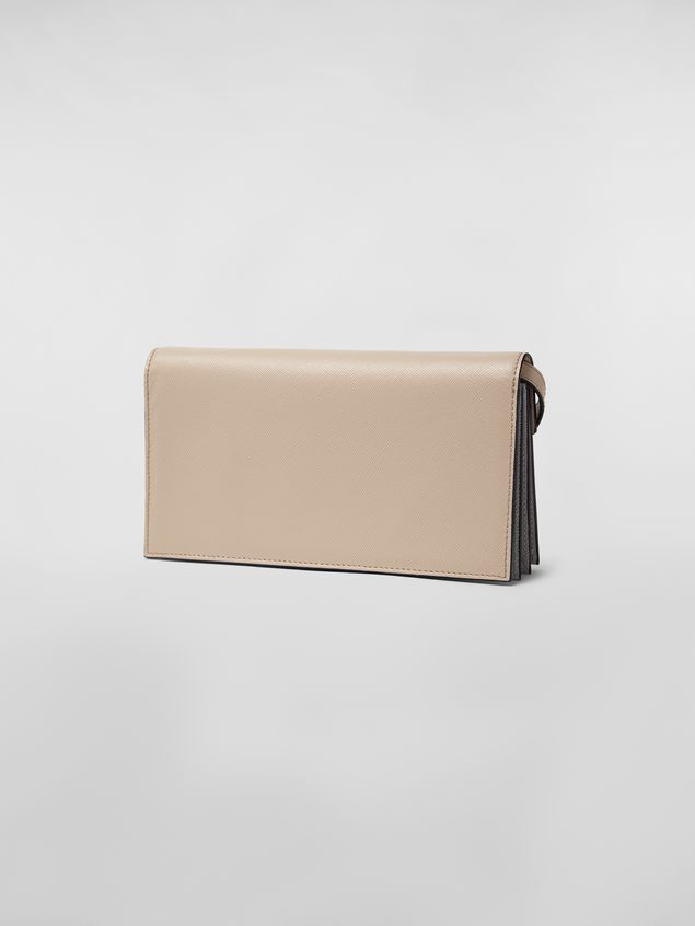 Marni - Gussets Pochette in saffiano leather yellow tan and grey - 3