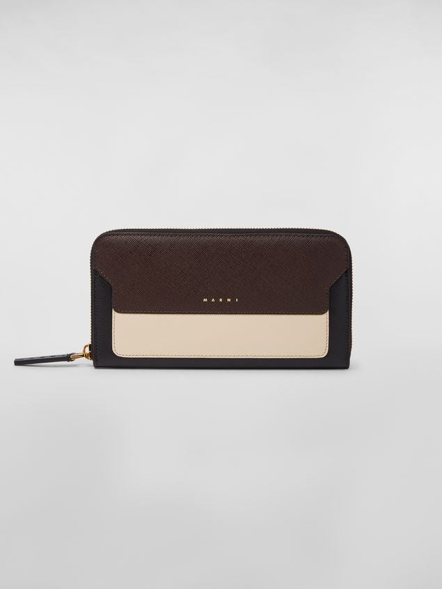 6847012f0381 Marni Rectangular zip-around wallet in brown, tan and black saffiano leather  Woman ...
