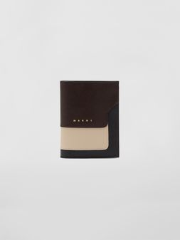 Marni Bi-fold wallet in tan, brown and black saffiano leather  Woman