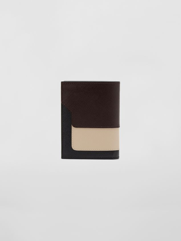 Marni Bi-fold wallet in tan, brown and black saffiano leather  Woman