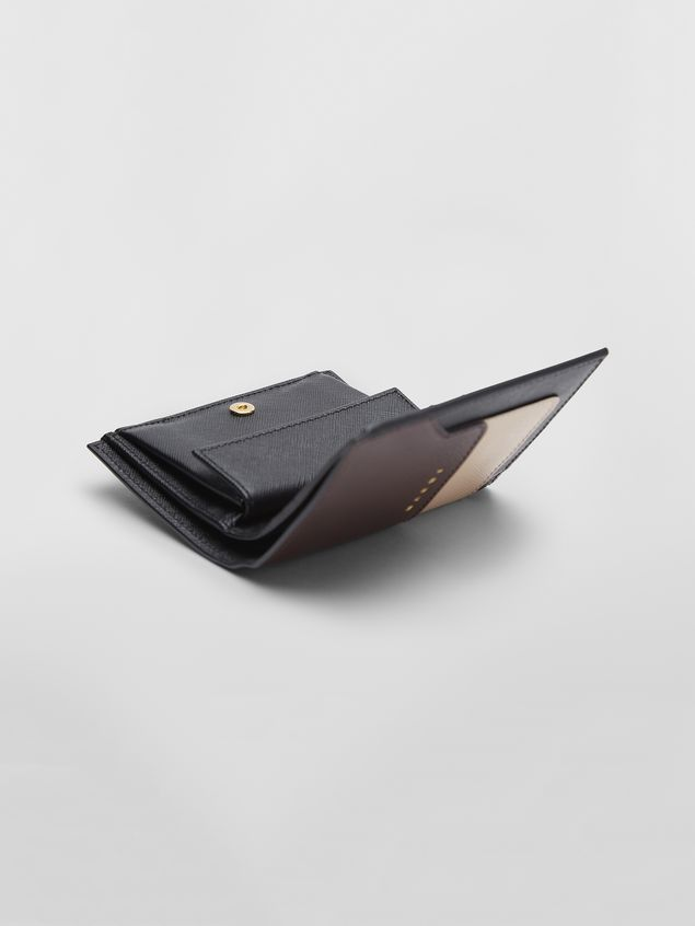 MARNI Wallet Woman Bi-fold wallet in tan, brown and black saffiano leather a
