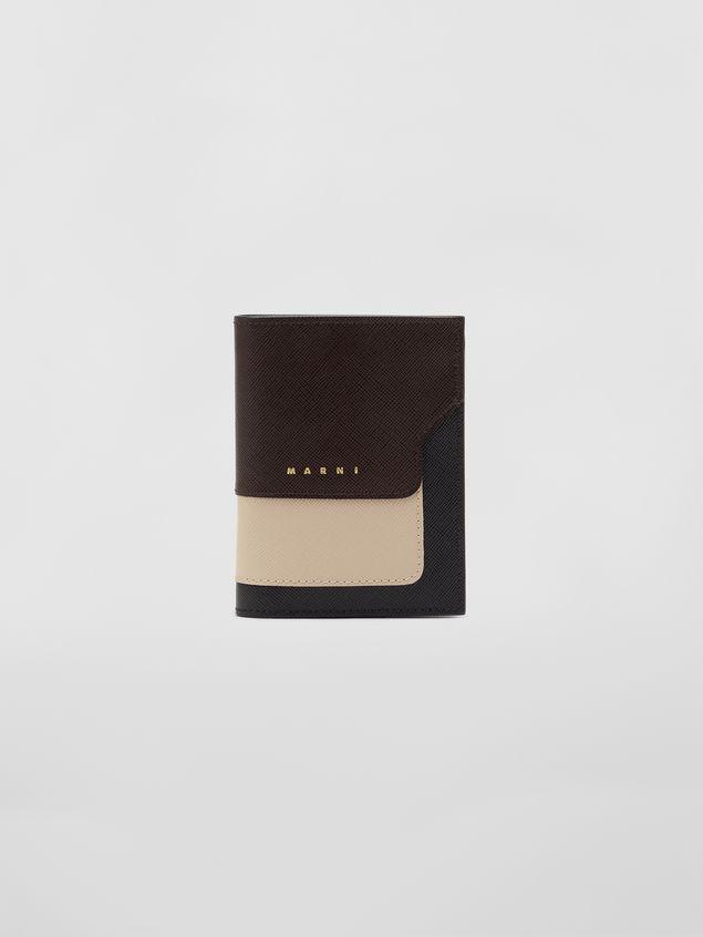 Marni Bi-fold wallet in tan, brown and black saffiano leather  Woman - 1