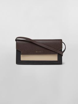 Marni Bellows wallet in saffiano leather tan brown and black Woman