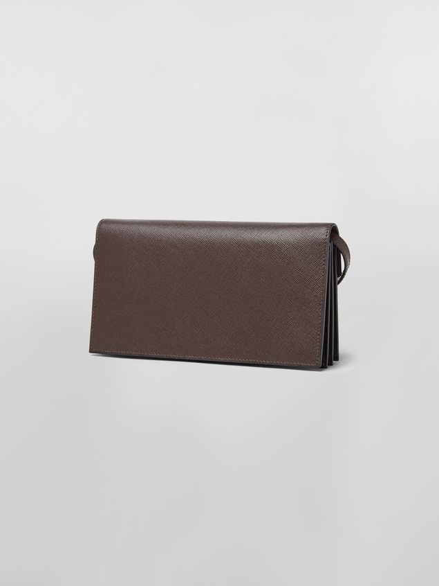 Marni Bellows wallet in tan, brown and black saffiano leather Woman