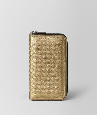 ZIP AROUND WALLET IN METALLIC CALF
