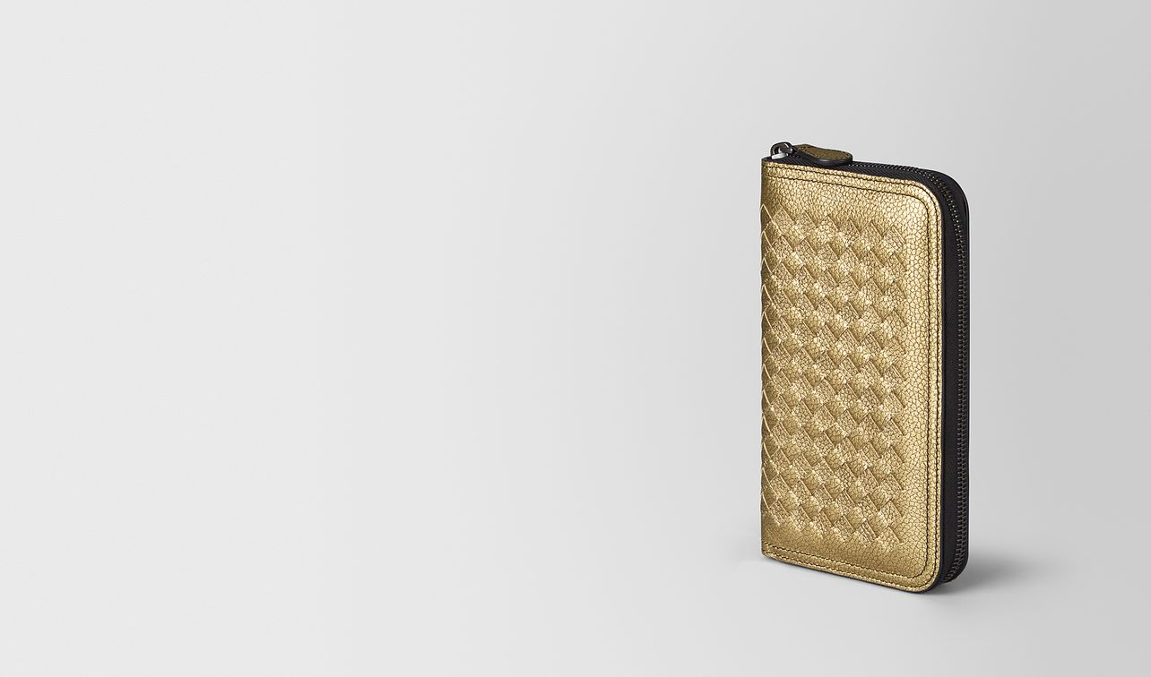 zip-around wallet in metallic calf leather  landing