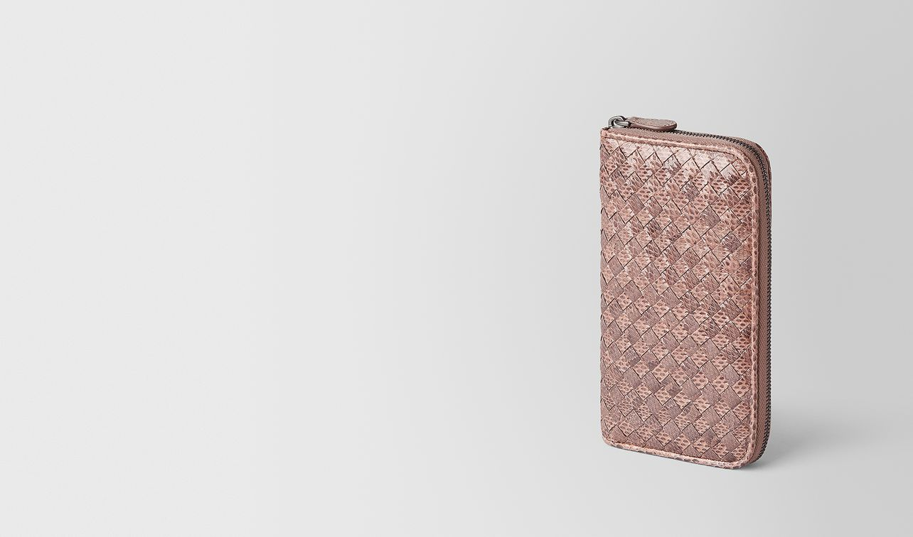 zip-around wallet in ayers and intrecciato nappa landing