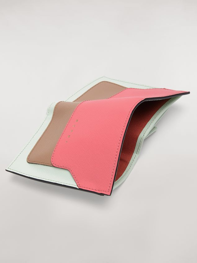 Marni Bi-fold wallet in saffiano leather in fuchsia, beige and green Woman - 5