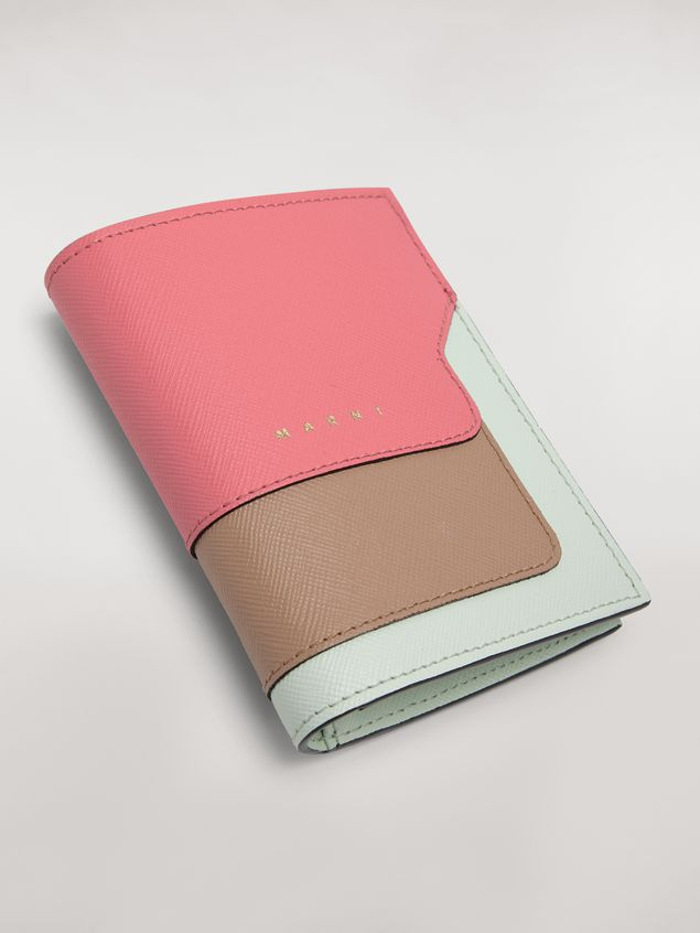 Marni Bi-fold wallet in saffiano leather in fuchsia, beige and green Woman - 4