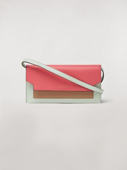 Marni Bellows wallet in saffiano leather in fuchsia, beige and green Woman
