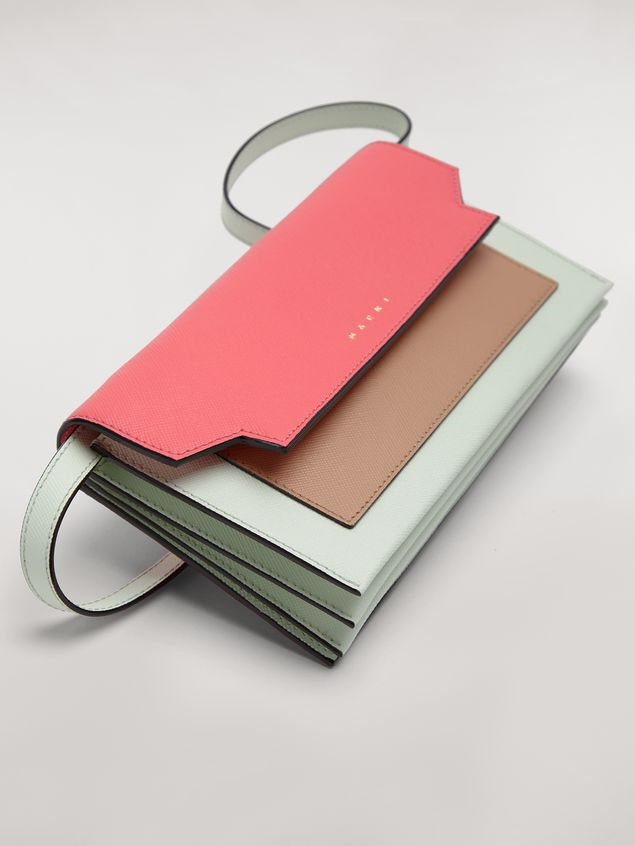 Marni Bellows wallet in saffiano leather fuchsia beige green Woman - 4