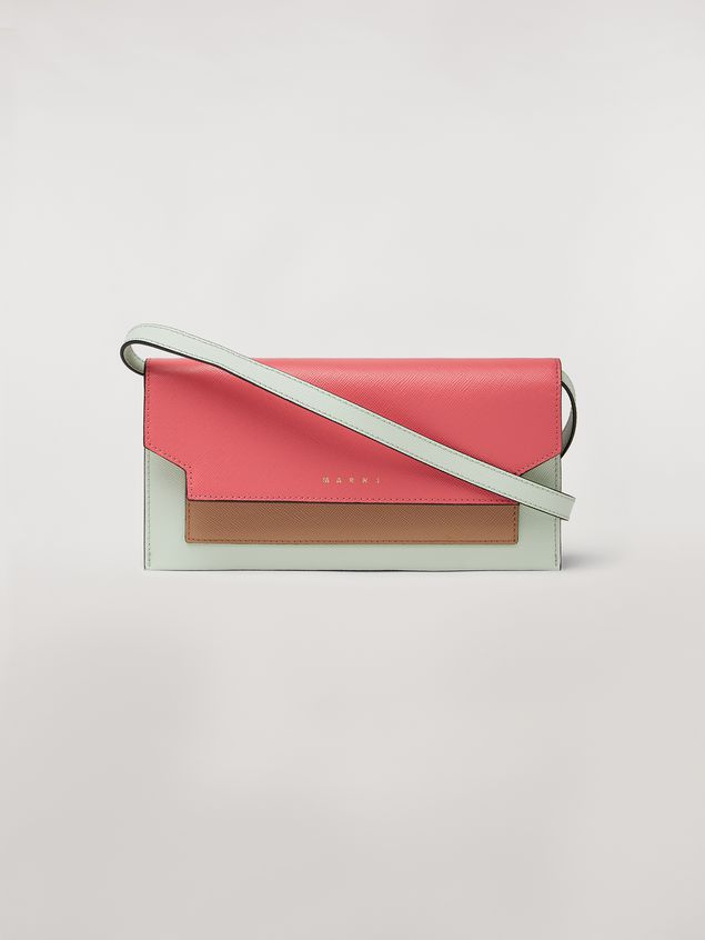 Marni Bellows wallet in saffiano leather fuchsia beige green Woman - 1