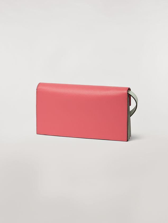 Marni Bellows wallet in saffiano leather fuchsia beige green Woman - 3