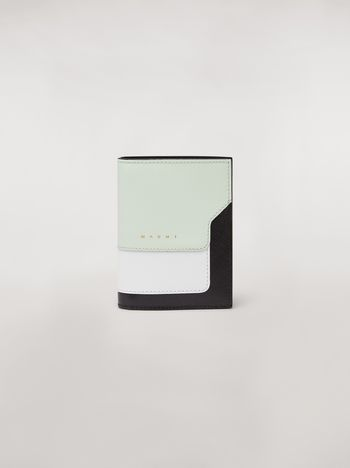Marni Bi-fold wallet in saffiano leather in green, white and noir Woman