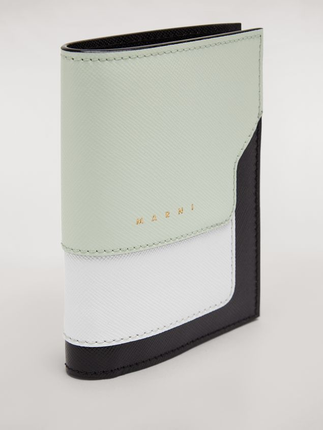 Marni Bi-fold wallet in saffiano leather in green, white and noir Woman - 4