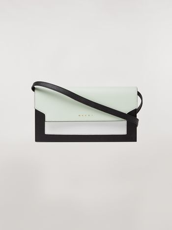 Marni Bellows wallet in saffiano leather in green, white and noir Woman