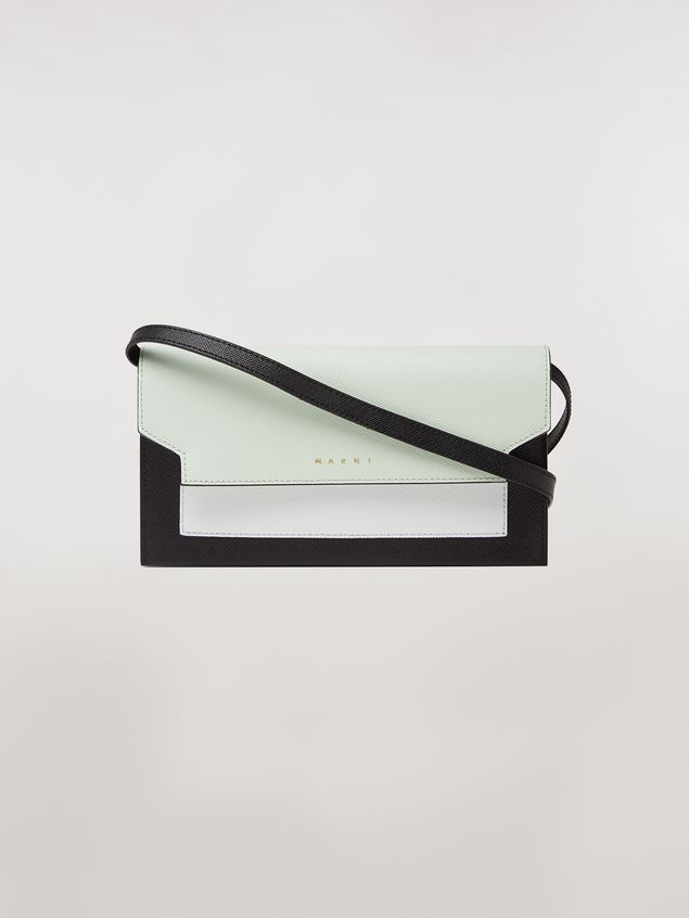 Marni Bellows wallet in saffiano leather in green, white and noir Woman - 1