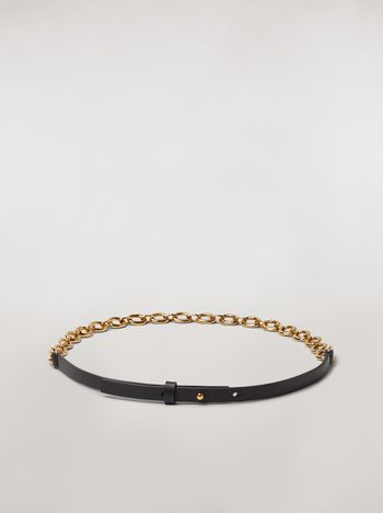 Marni Black calfskin belt with chain Woman f