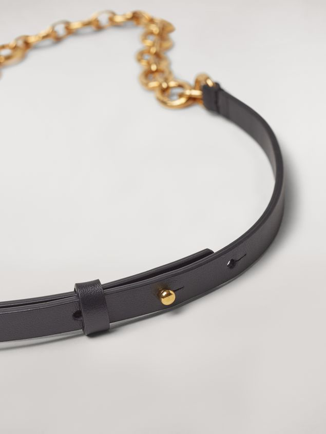 Marni Black calfskin belt with chain Woman - 3