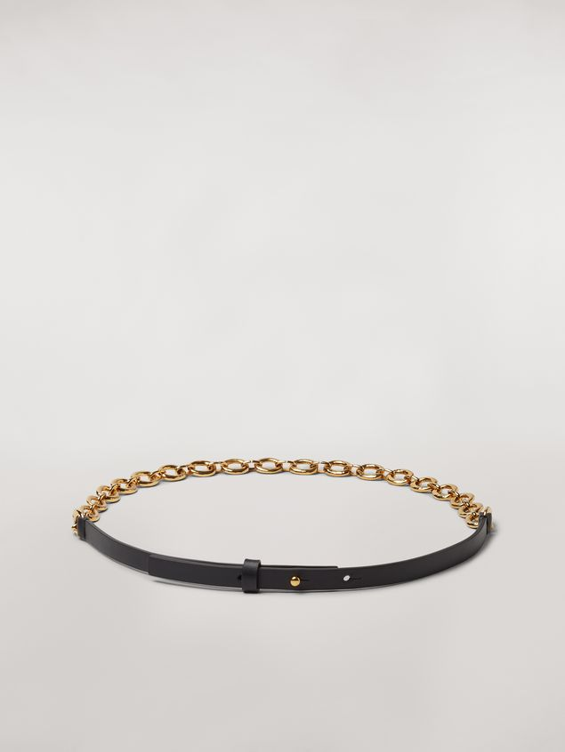 Marni Black calfskin belt with chain Woman - 1