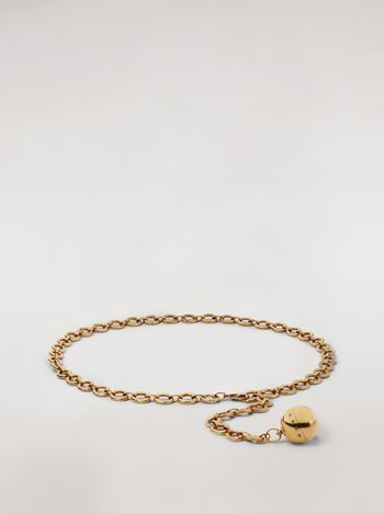 Marni Gold-tone metal belt with ball pendant Woman f