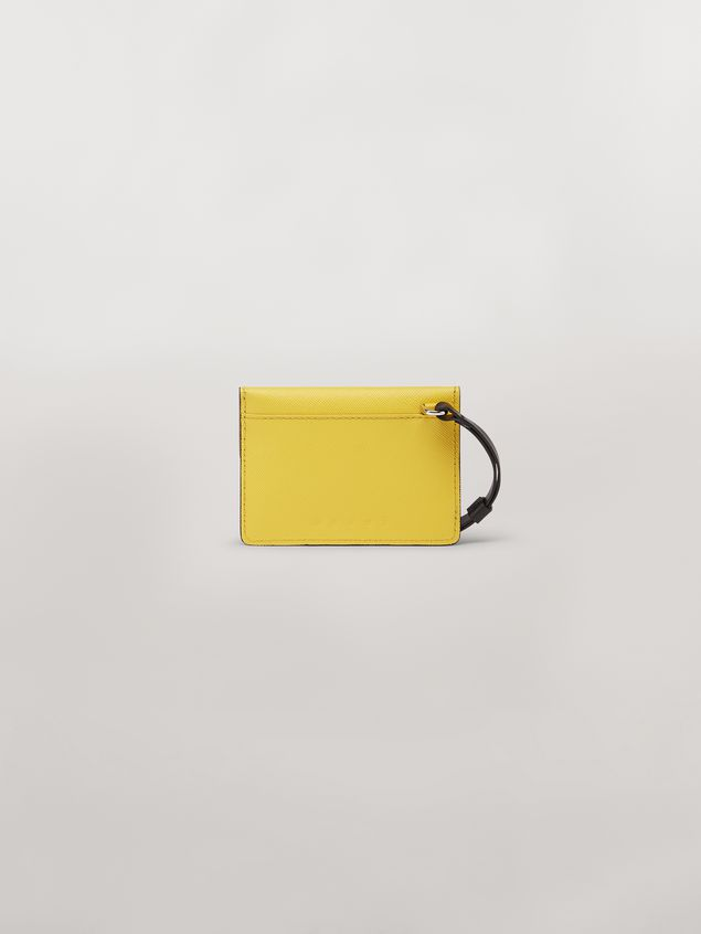 Marni Wallet MONSTER in calfskin and saffiano leather yellow and blue Man