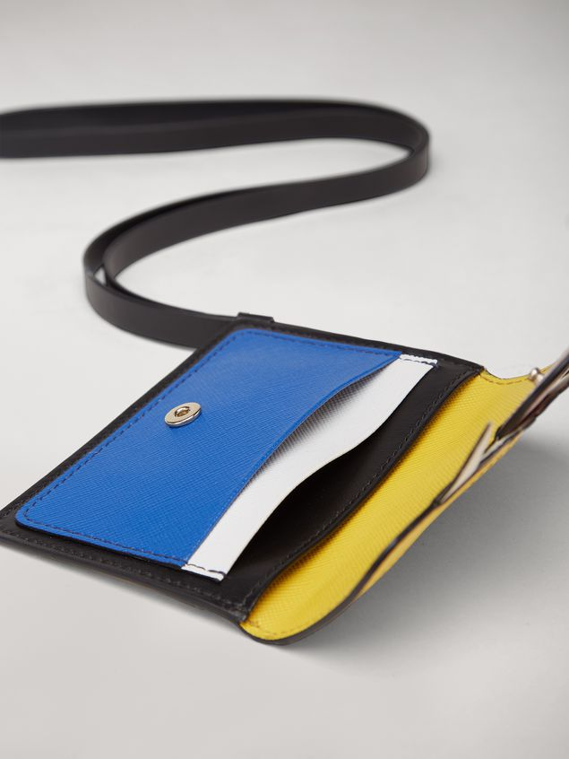 Marni Wallet MONSTER in calfskin and saffiano leather yellow and blue Man - 4