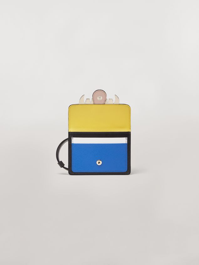 Marni Wallet MONSTER in calfskin and saffiano leather yellow and blue Man - 2
