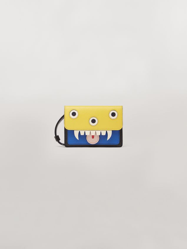 Marni Wallet MONSTER in calfskin and saffiano leather yellow and blue Man - 1