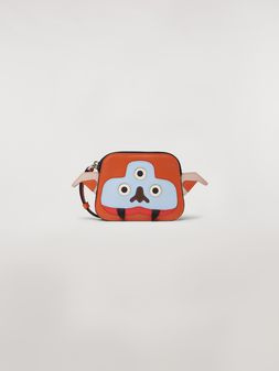 Marni Wallet MONSTER in calfskin and saffiano leather orange and white Man