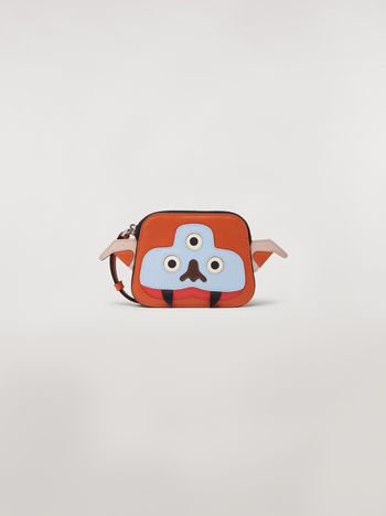 Marni MONSTER wallet in orange and white calfskin and saffiano leather  Man f