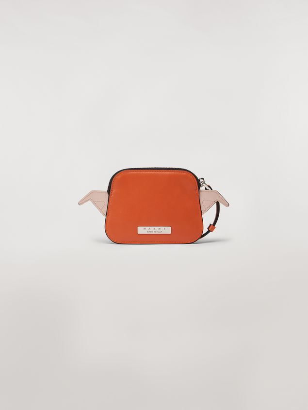 Marni MONSTER wallet in orange and white calfskin and saffiano leather  Man