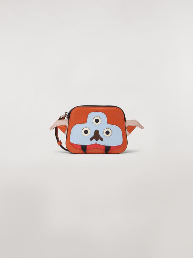 Marni MONSTER wallet in orange and white calfskin and saffiano leather  Man - 1