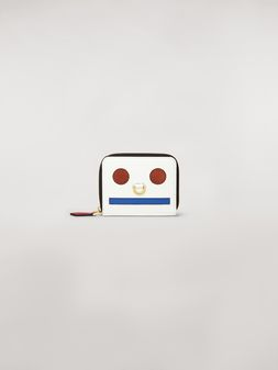 Marni Bi-fold wallet Emoji design in shiny white, red and blue calfskin  Woman