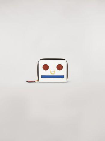 Marni Bi-fold wallet Emoji design in shiny white, red and blue calfskin  Woman
