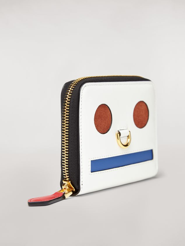 Marni Bi-fold wallet Emoji design in shiny white, red and blue calfskin  Woman - 4