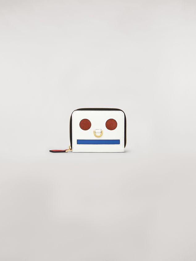 Marni Bi-fold wallet Emoji design in shiny white, red and blue calfskin  Woman - 1