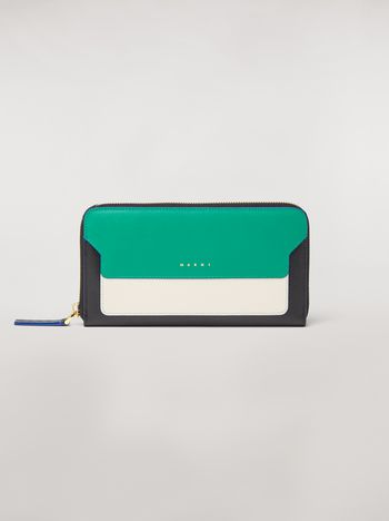 Marni Zip wallet in green, white and black saffiano leather  Woman