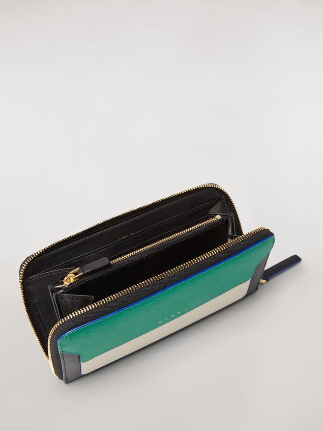 Marni Zip wallet in green, white and black saffiano leather  Woman - 2