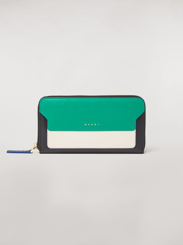 Marni Zip wallet in green, white and black saffiano leather  Woman - 1
