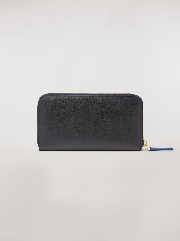 Marni Zip wallet in green, white and black saffiano leather  Woman - 3