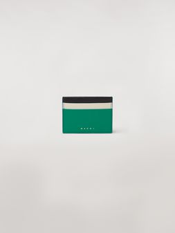 Marni Credit card case in green, white and black saffiano leather  Woman