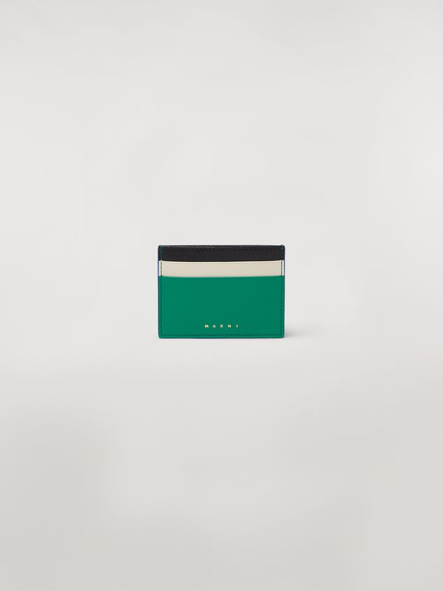 Marni Credit card case in green, white and black saffiano leather  Woman - 1