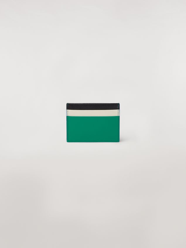 Marni Credit card case in green, white and black saffiano leather  Woman - 3
