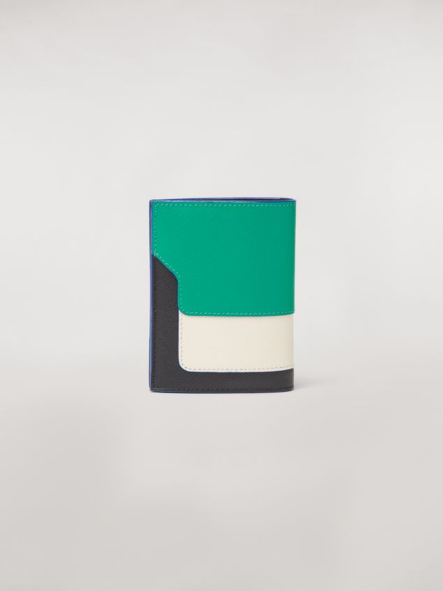 Marni Bi-fold wallet in green, white, and black saffiano leather  Woman